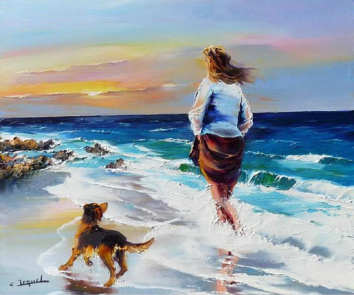 Christian Jequel. Картины мастихином. Femme sur la plage. 65х54