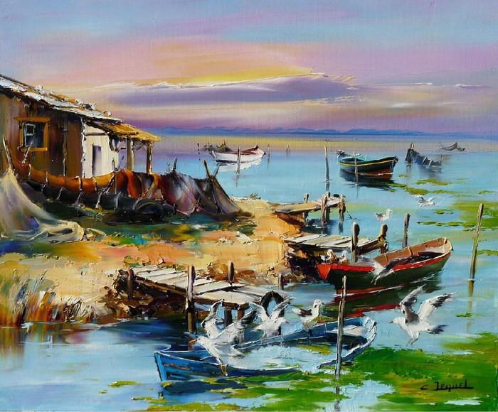 Christian Jequel. Картины мастихином. La barque coulée. 65х54