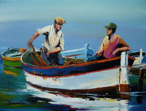 Christian Jequel. Картины мастихином. Marins à la barque. 55х46