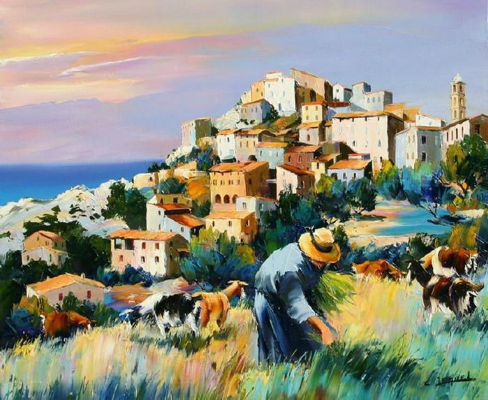 Christian Jequel. Картины мастихином. Village en Balagne. 65х54