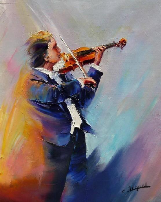 Christian Jequel. Картины мастихином. Violoniste. 41х33