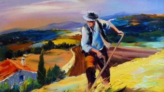 Christian Jequel. Картины мастихином. Жнец