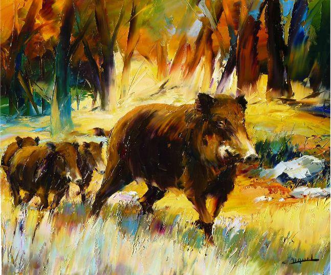 Christian Jequel. Картины мастихином. laie et bêtes rousses. 65х54