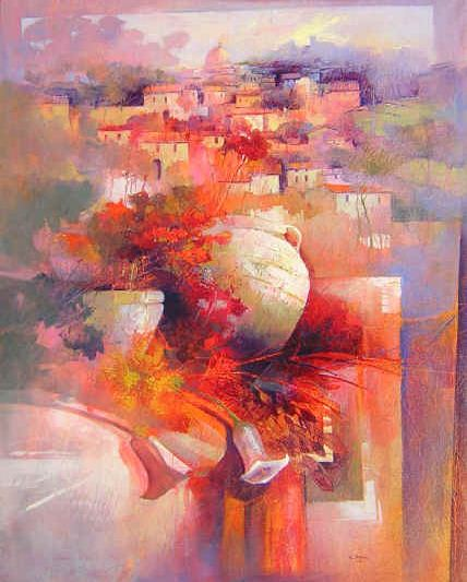 Claudio Perina. Современная итальянская живопись. Armonie di luci. 92х73. Бумага наклеенная на холст масло
