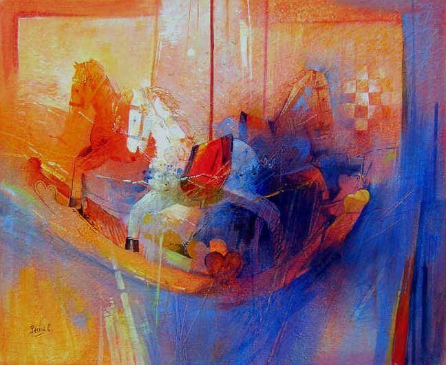 Claudio Perina. Современная итальянская живопись. Cavalli a dondolo. 73х60. Бумага наклеенная на холст масло