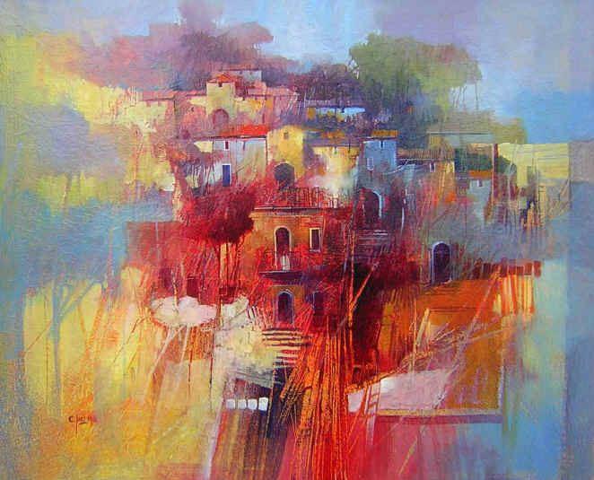 Claudio Perina. Современная итальянская живопись. La casa rossa. 65х54. Бумага наклеенная на холст масло