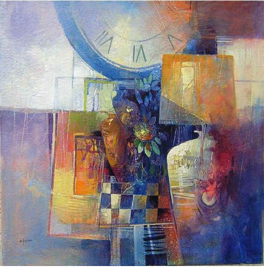 Claudio Perina. Современная итальянская живопись. Momenti di relax. 60х60. Бумага наклеенная на холст масло