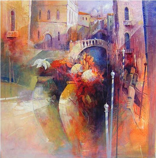 Claudio Perina. Современная итальянская живопись. Terrecotte e fiori a Venezia. 100х100. Бумага наклеенная на холст масло