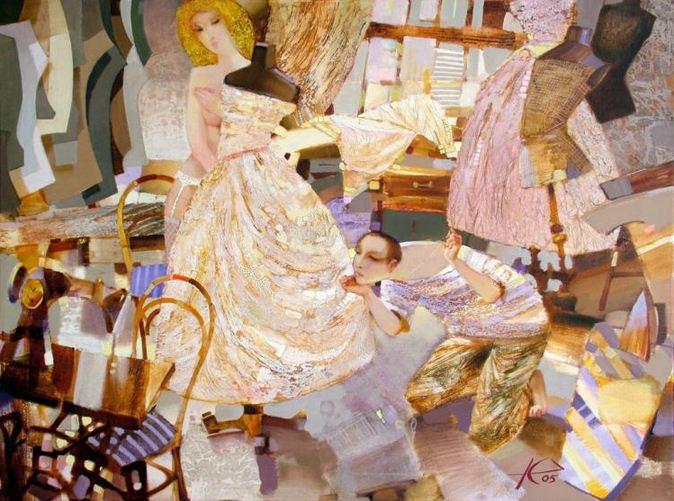 Евгений Кузнецов. Абстракция в живописи. От кутюр. 76х101. холст масло