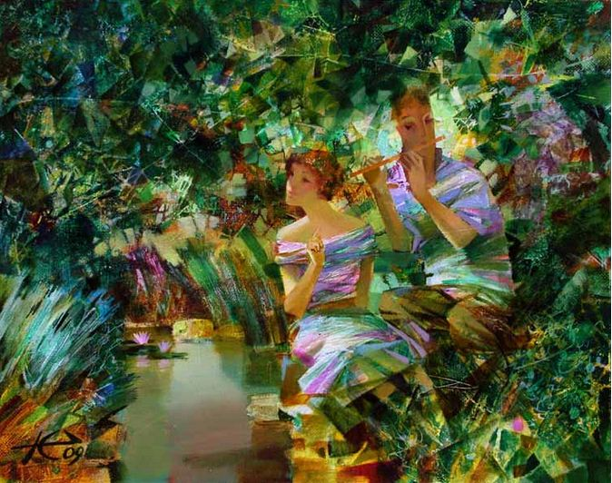 Евгений Кузнецов. Абстракция в живописи. Трель. 40х50. холст масло
