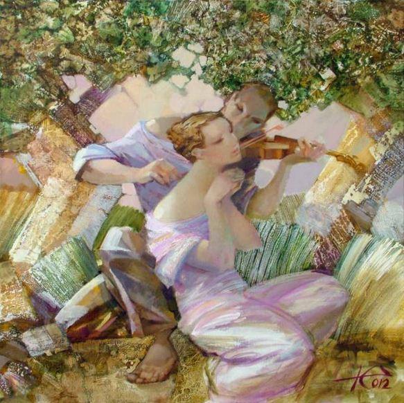 Евгений Кузнецов. Абстракция в живописи. Трогательная мелодия. 80х80. холст масло