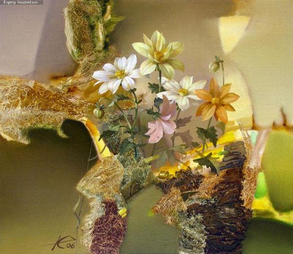 Евгений Кузнецов. Цветы и абстракция. Грильяж. Холст масло