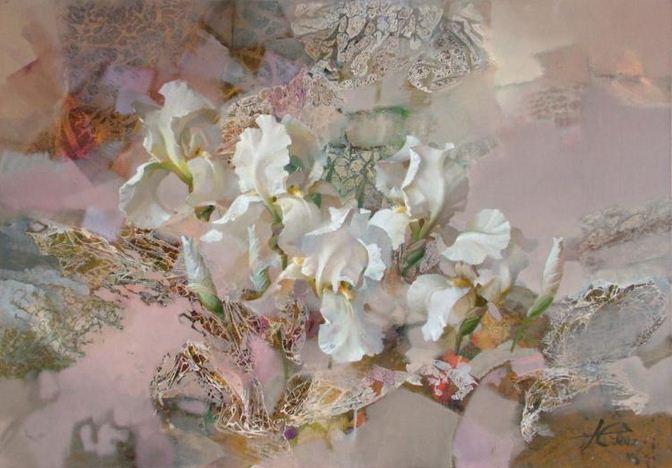 Евгений Кузнецов. Цветы и абстракция. Каприччиозо. 70х100. холст масло