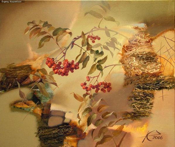 Евгений Кузнецов. Цветы и абстракция. Рябина. Холст масло