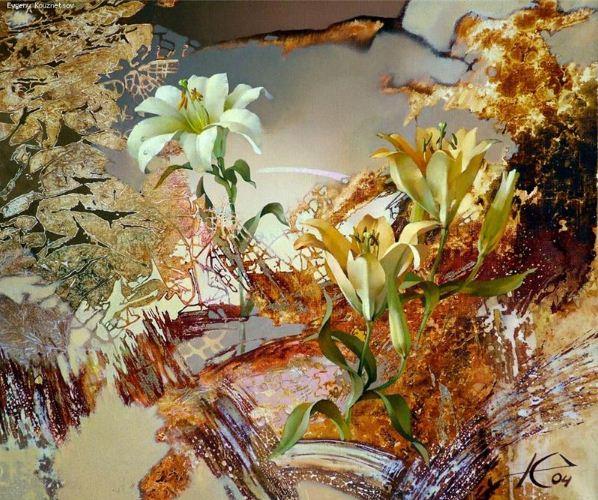 Евгений Кузнецов. Цветы и абстракция. Золото. Холст масло