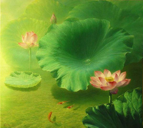Jiang Debin. Цветы акварелью. Blooming Lotus. 100х110