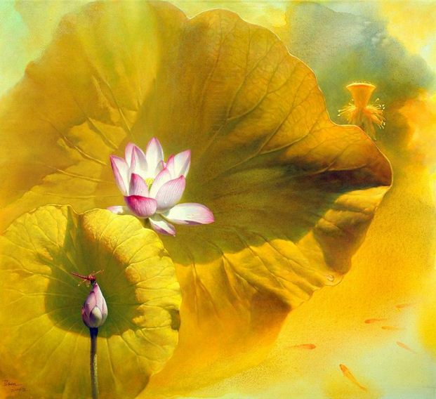 Jiang Debin. Цветы акварелью. Лотос третий