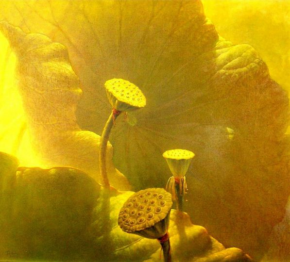 Jiang Debin. Цветы акварелью. Лотос второй