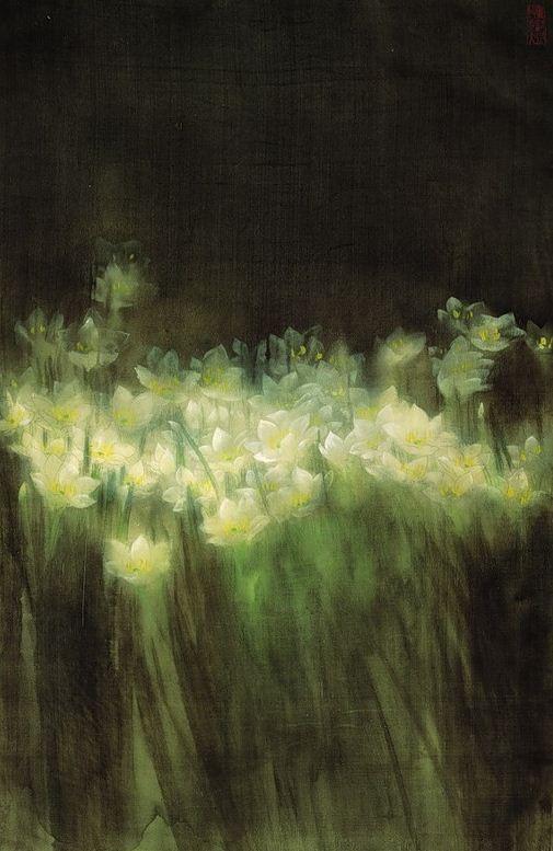 Jiang Debin. Цветы акварелью
