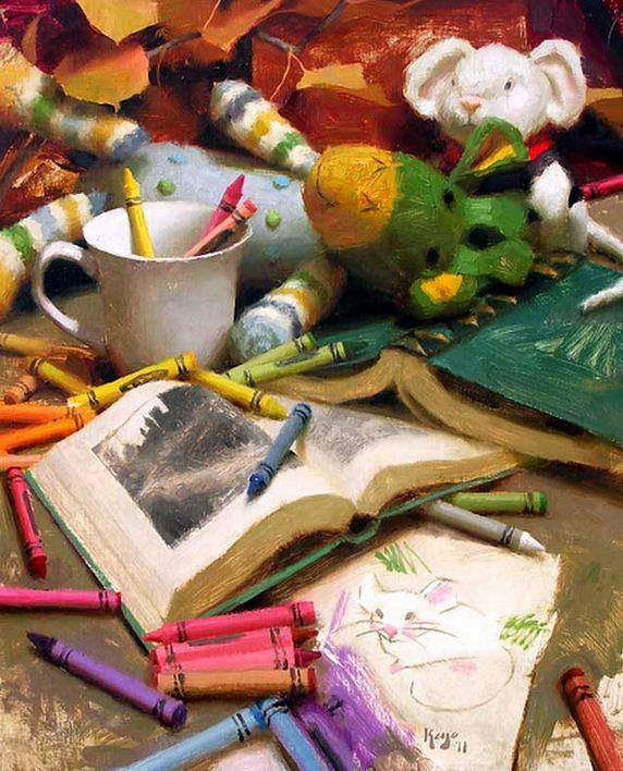 Keys Daniel J. Живопись маслом натюрморт. Dolls, Books, & Crayons. 20х15 дюймов
