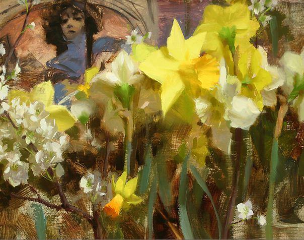 Keys Daniel J. Живопись маслом натюрморт. Mucha & Narcissus. 11х14 дюймов