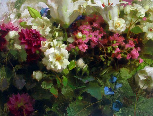 Keys Daniel J. Живопись маслом натюрморт. RСадовые цветы. 16х20 дюймов