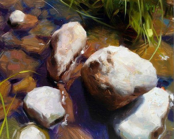 Keys Daniel J. Живопись маслом натюрморт. River Rocks. 11х14 дюймов