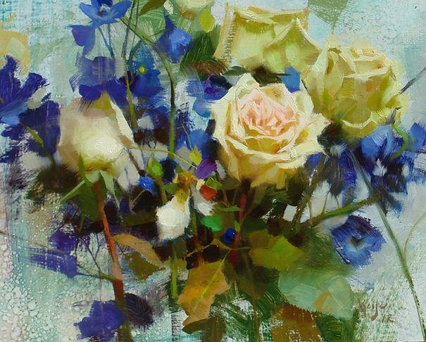 Keys Daniel J. Живопись маслом натюрморт. Roses & Delphiniums. 11х14 дюймов