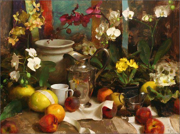 Keys Daniel J. Живопись маслом натюрморт. Серебро и орхидеи. 30х40 дюймов