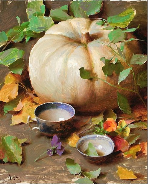 Keys Daniel J. Живопись маслом натюрморт. White Pumpkin with Vines. 20х16 дюймов