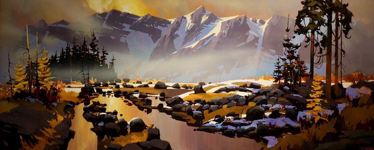 Michael O'Toole. Акриловая живопись. Columbia Icefields Parkway. Акрил. 30х72 дюймов
