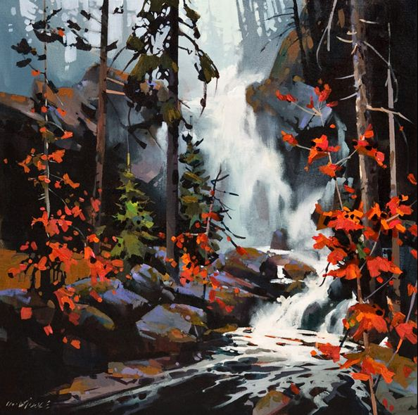 Michael O'Toole. Акриловая живопись. Falls in the Spirit Bear Rain Forest. Акрил. 24х24 дюймов