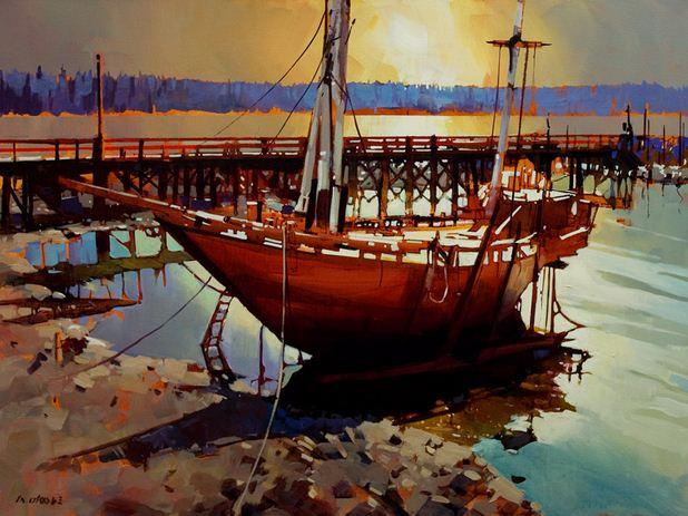 Michael O'Toole. Акриловая живопись. Ford's Cove, Hornby - Revisited. Акрил. 30х40 дюймов