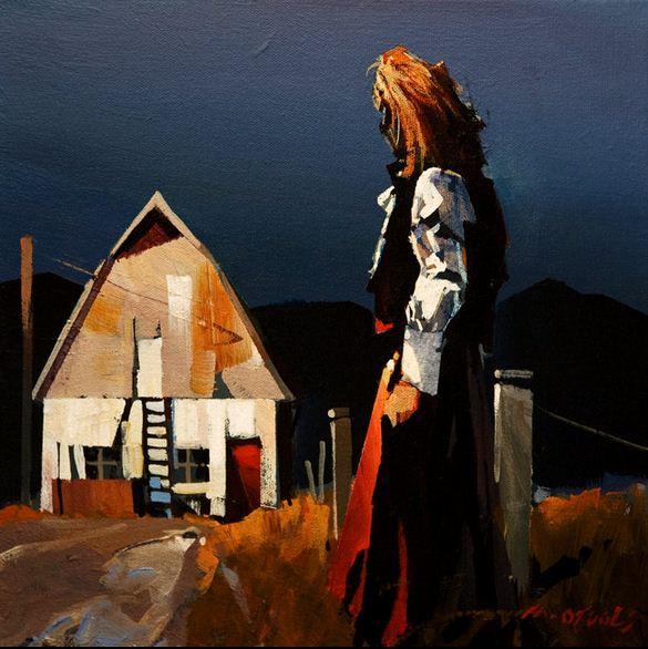 Michael O'Toole. Акриловая живопись. Light on the Barn. Акрил. 12х12 дюймов