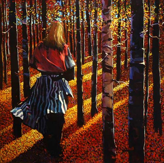 Michael O'Toole. Акриловая живопись. She Walks Among the Black Poplars. Акрил. 40х40 дюймов