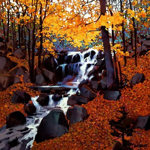 Michael O'Toole. Акриловая живопись. Small Creek in Autumn. Акрил. 24х24 дюймов