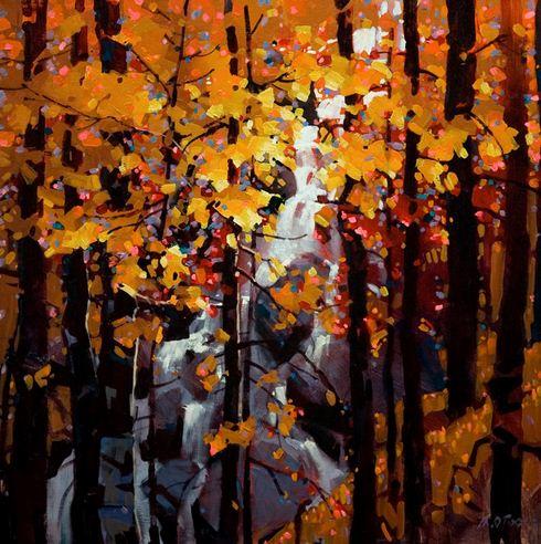 Michael O'Toole. Акриловая живопись. Tangled Autumn. Акрил. 24х24 дюймов