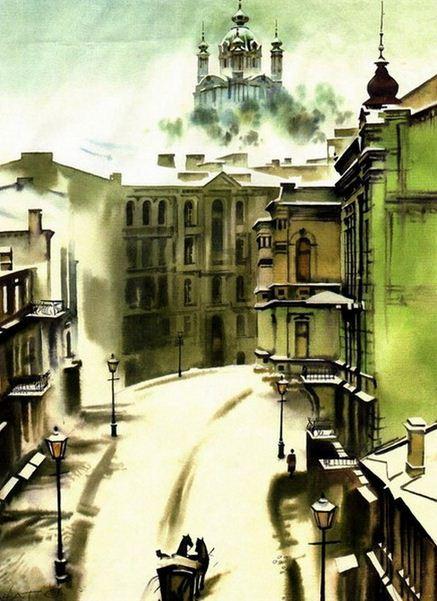 Сергей Брандт. Городской пейзаж акварелью. Андреевский спуск. Зима. 45х32