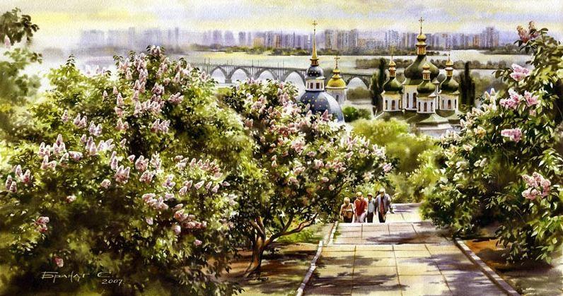 Сергей Брандт. Городской пейзаж акварелью. Ботанический сад. 73х38