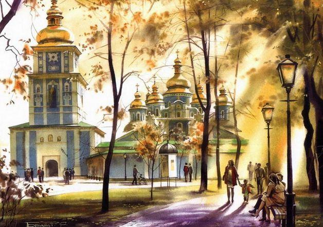 Сергей Брандт. Городской пейзаж акварелью. Михайловский собор. 50х75