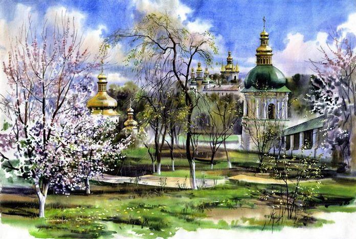 Сергей Брандт. Городской пейзаж акварелью. Монастырский сад. 50х75