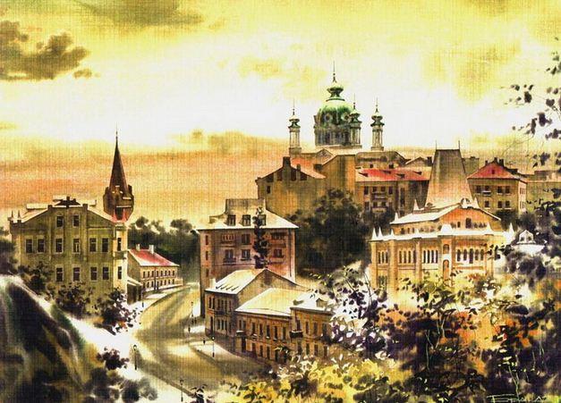 Сергей Брандт. Городской пейзаж акварелью. Вид с Замковой горы. 45х32