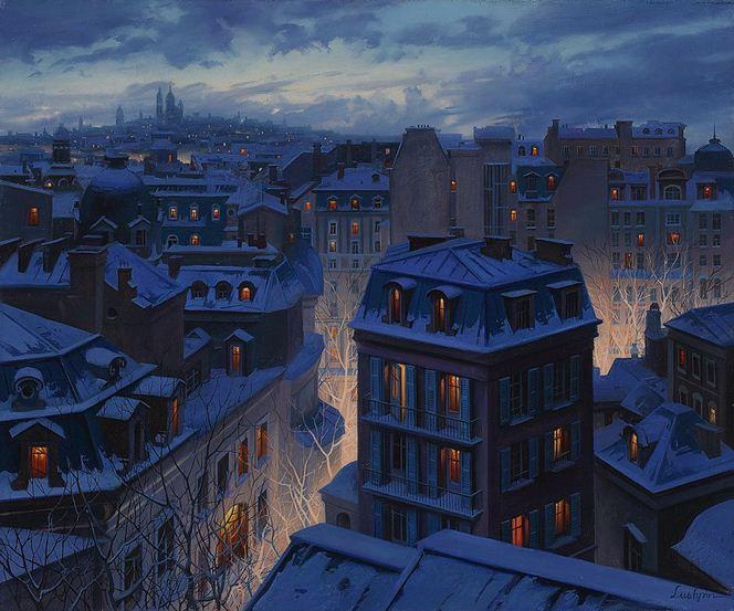 Евгений Лушпин. Современные художники России. Крыши Парижа