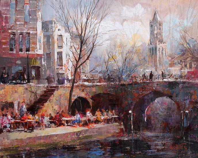 Willem Haenraets. Воздушная живопись. City Utrecht. Холст акрил. 2012