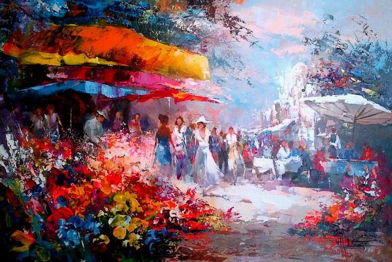 Willem Haenraets. Воздушная живопись. Flowermarket. Холст акрил. 2011
