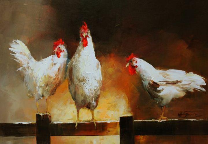 Willem Haenraets. Воздушная живопись. Курицы. 80х100 Холст акрил. 2011