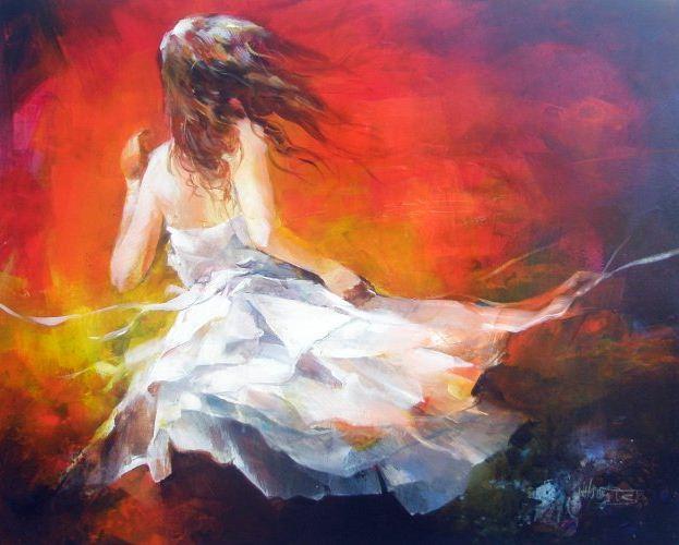 Willem Haenraets. Воздушная живопись. Молодая девушка на ветру. 80х100 Холст акрил. 2008