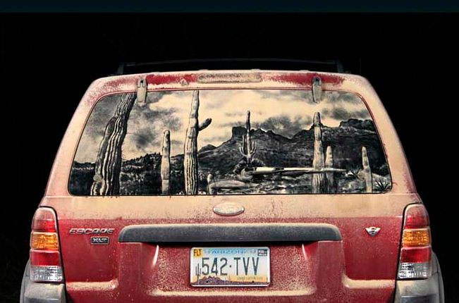 Scott Wade. Рисунки на грязных машинах. Escape to the Desert
