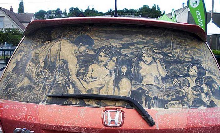 Scott Wade. Рисунки на грязных машинах. Hylas & the Nymphs