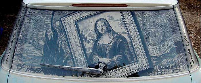 Scott Wade. Рисунки на грязных машинах. Mona Lisa